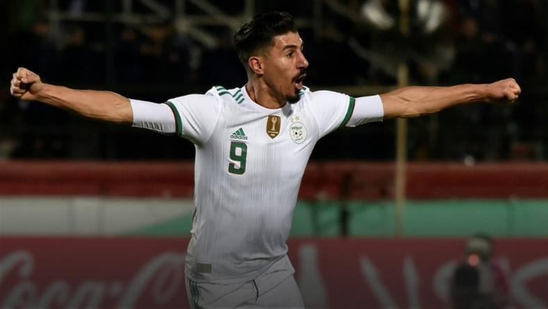 Baghdad Bounedjah celebrates scoring for Algeria in a 5-0 Africa Cup of Nations qualifying triumph over Zambia in Blida Thursday