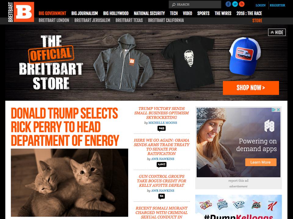 Breitbart: Donald Trump wskazuje Ricka Perry'ego na szefa departamentu energii