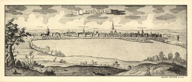 Panorama Trzcińska-Zdroju na rycinie Daniela Petzolda (1686-1763 r.)