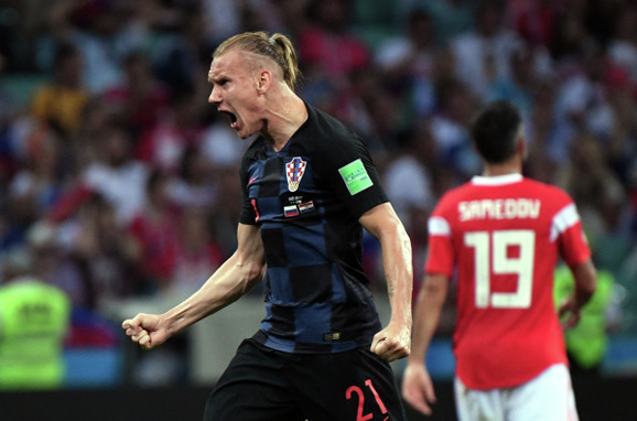 Hrvatski reprezentativac Domagoj Vida slavi izjednačenje