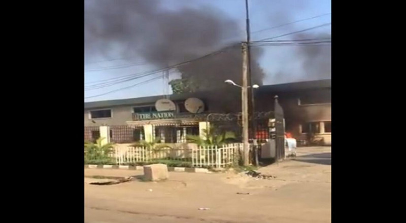 Irate youths set TheNation newspaper on fire