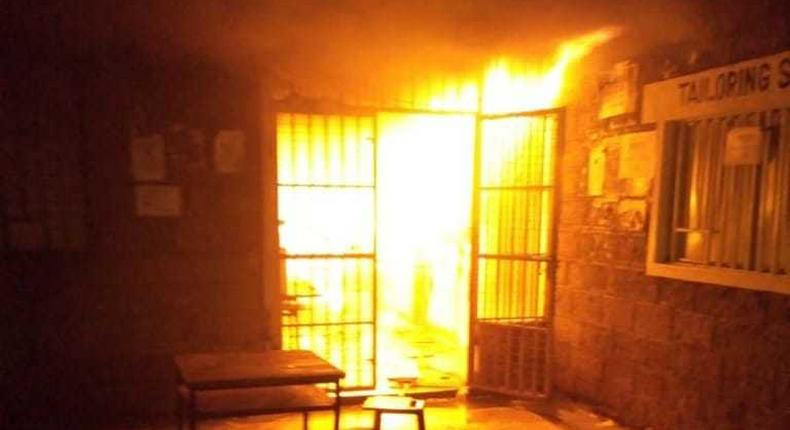 Student mess hall at JKUAT on fire