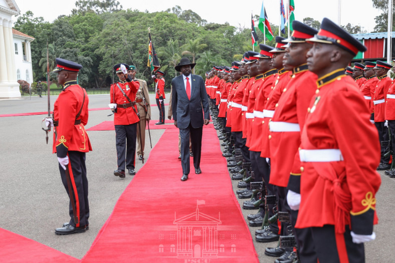 South Sudanese president Salva Kiir who is a two-day official state visit to Kenya inspecting a guard of honor