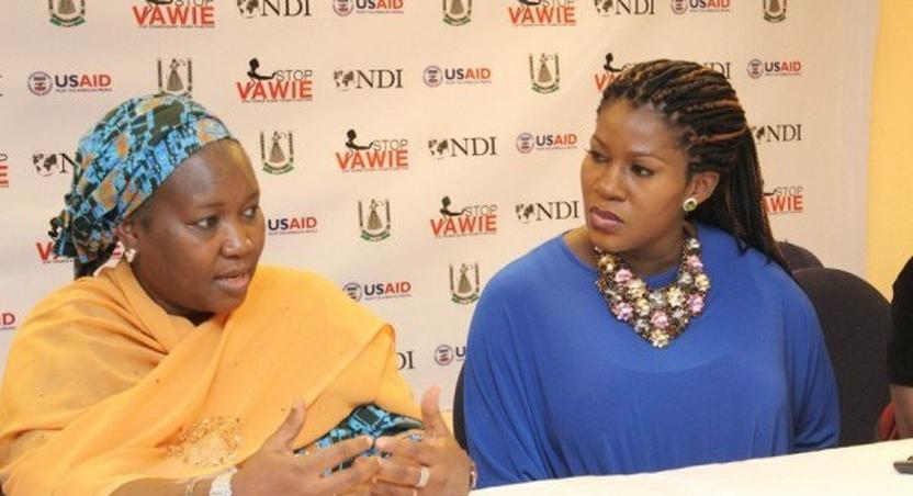 From right, Stephanie Linus in blue outfit