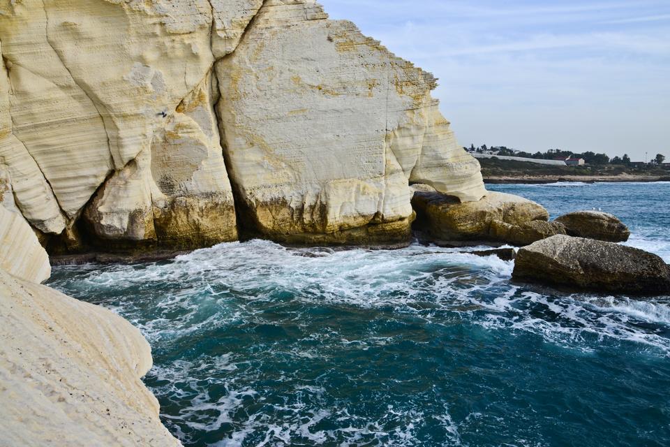 Rosh Hankira - piękne groty położone na granicy z Libanem.