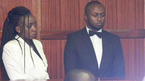 Jacque Maribe and Joseph Irungu during first day of Monica Kimani murder trial.