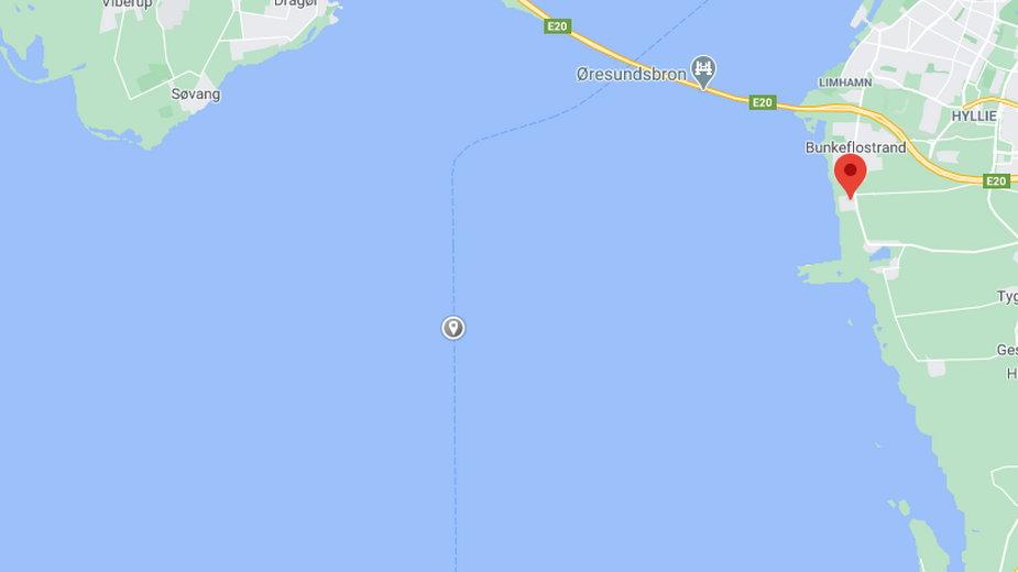 Prawdopodobne miejsce kolizji na morzu