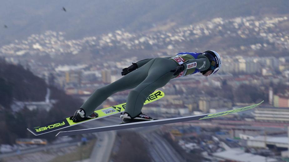 Skoki narciarskie. Na zdjęciu Kamil Stoch podczas zawodów w Innsbrucku