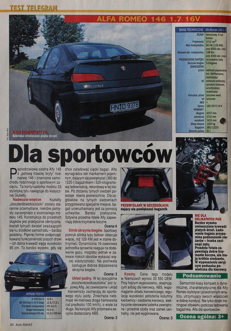 Test Alfy Romeo 146 - Auto Świat rok 1996