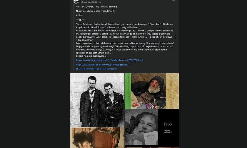 """Żegnaj Krzykaczu! Tragiczna śmierć gwiazdy punk rocka! Znany muzyk znaleziony martwy w """"altance na śmieci"""". To był jego... dom."""