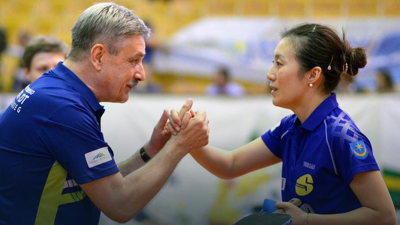 Trener Zbigniew Nęcek i Han Ying