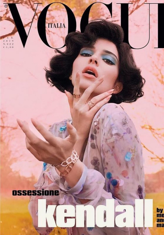 Kendall Jenner covers the February edition of Vogue Italia