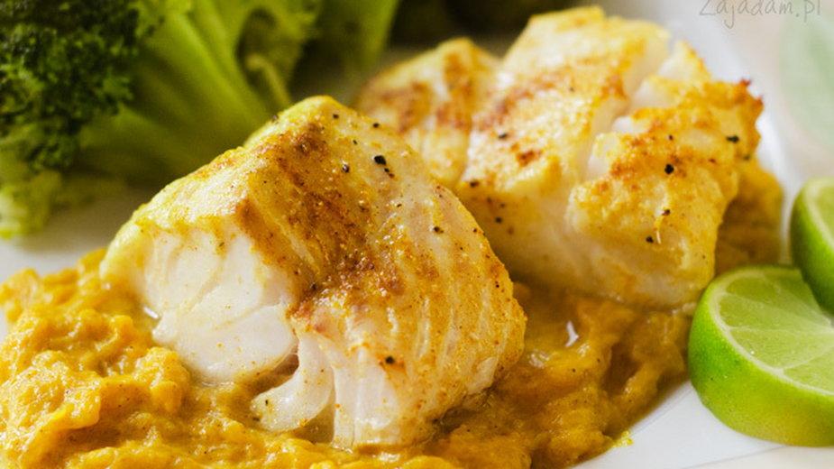 Pieczony dorsz na dyniowym curry