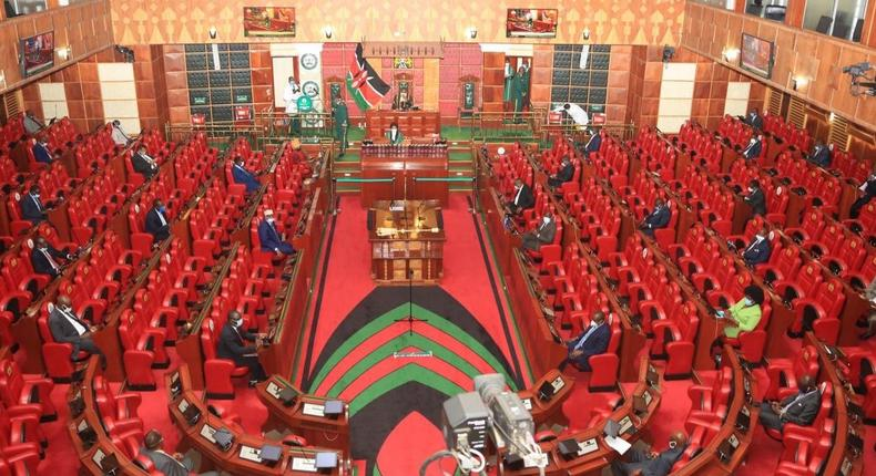 National Assembly of Kenya with members exercising social distancing