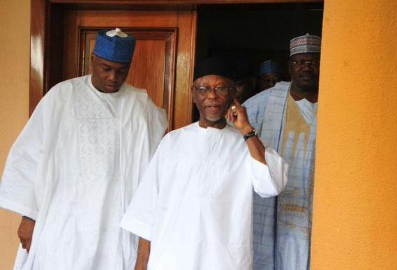 Former APC Chairman, John Oyegun meets with Senate President, Bukola Saraki and Senator Ahmed Lawan during one of parliament's leadership crisis in 2015 (Punch)