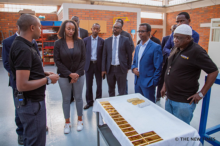 Trade and Industry Minister, Soraya Hakuziyaremye at Aldango new facilities at the Kigali Special Economic Free Zone.