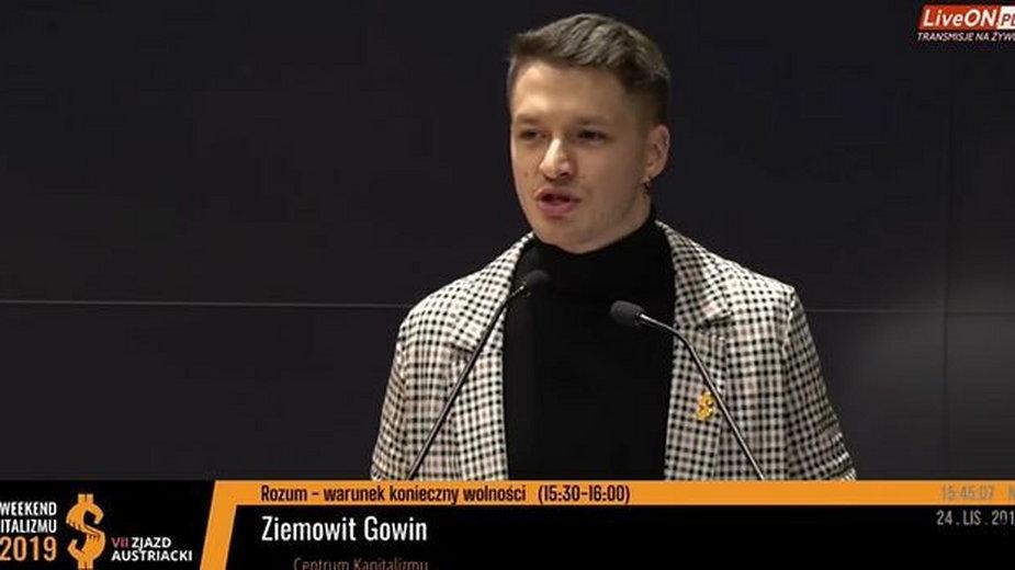 Ziemowit Gowin podczas wykładu w ramach konferencji Weekend Kapitalizmu, Warszawa, 8 grudnia 2019 roku