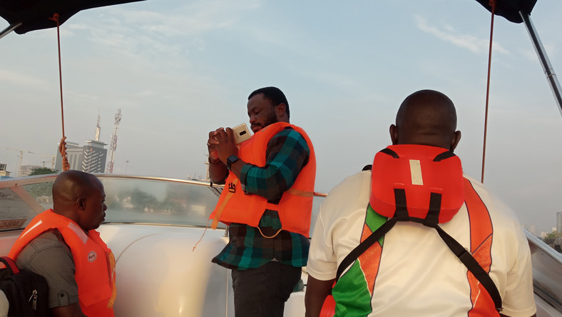 Gossy Ukanwoke, founder of Lagos Boats and some passengers on Gboat at the maiden trip