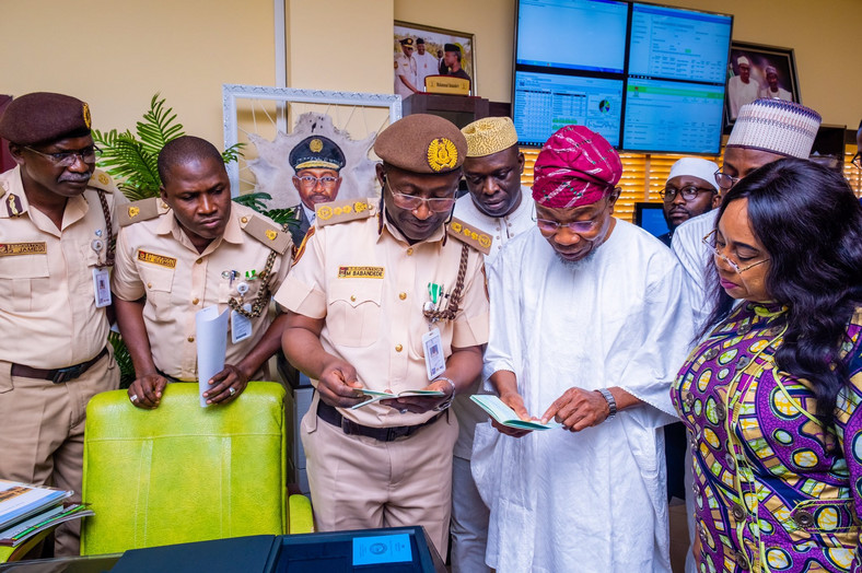 Minister of Interior Rauf Aregbesola visits Immigration headquarters as soon as he was sworn in minister last August (Interior ministry)