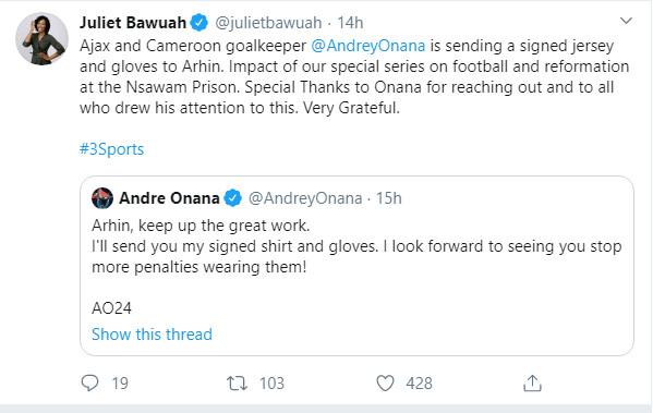 Tweet from Andre Onana