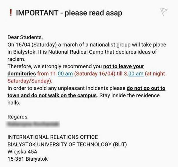 ostrzeżenie dla studentów PB