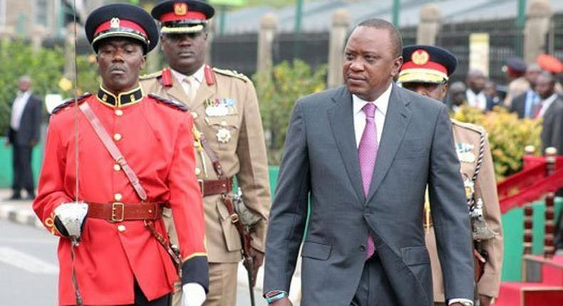 President Uhuru Kenyatta arrives at Parliament for the State of the Nation Address on March 15, 2017