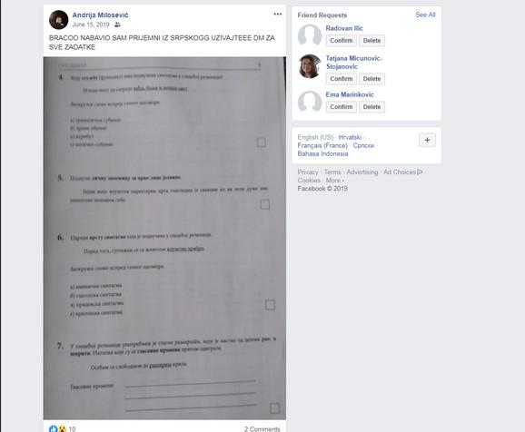 Objava sa lažnog profila