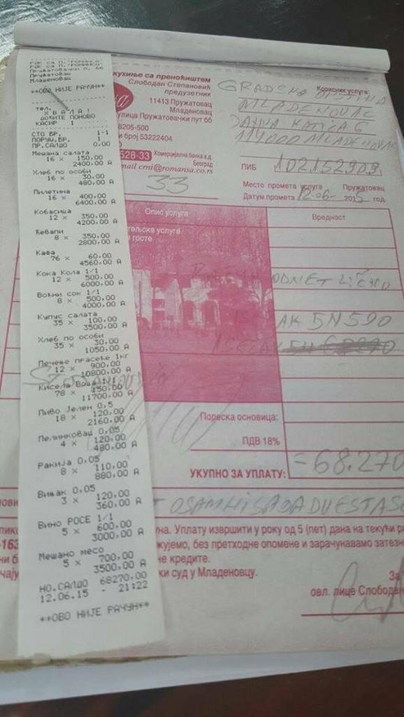 Prema računu, ekipa iz Mladenovca je popila čak 78 flaša kisele vode, i to je naplaćeno 11.700 dinara!