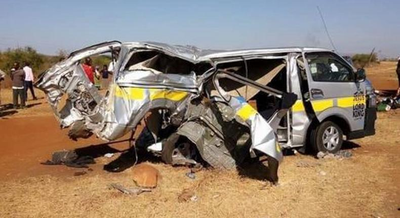 File image of the mangled wreck of a matatu which was involved in a road accident with a lorry near Masimba market in Kajiado County in March