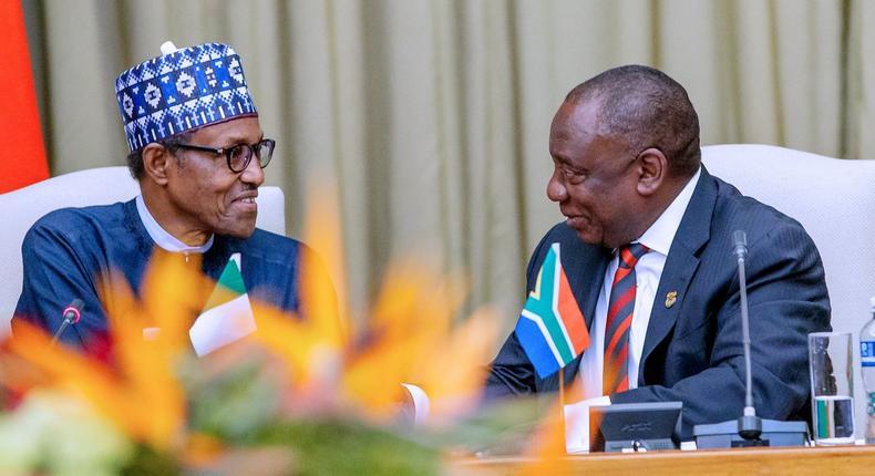 President Muhammadu Buhari and his South African counterpart, Cyril Ramaphosa  [Twitter/@NigeriaGov]