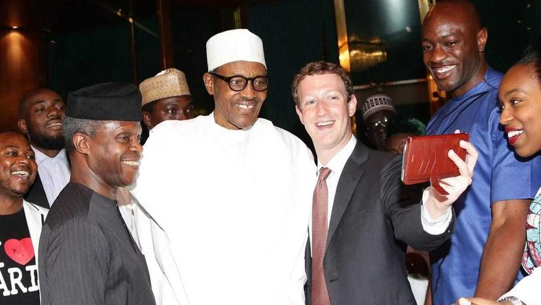 Zuckerberg takes a selfie with President Buhari and VP Osinbajo