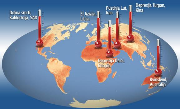 mapa sveta preko satelita Sateliti NASA otkrili najtoplije mesto na svetu   pustinju Lut u  mapa sveta preko satelita