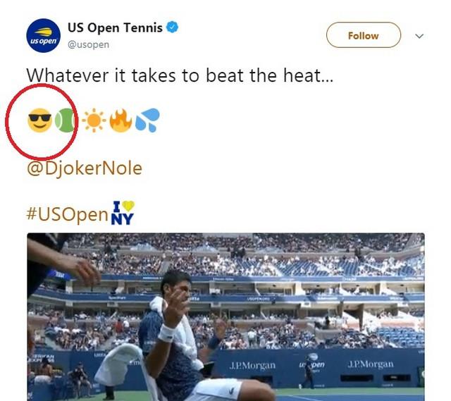 Tvit na zvaničnom nalogu US Opena - koji je potom obrisan