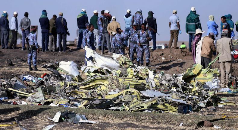 The scene of the Ethiopian Airlines Flight ET 302 plane crash.