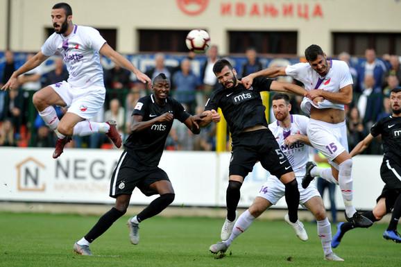 Fudbaleri Javora na utakmici sa Partizanom