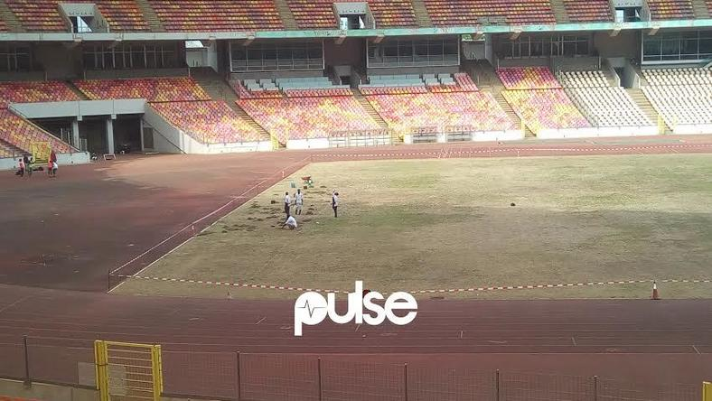 The football pitch at the Abuja National Stadium in a sorry state