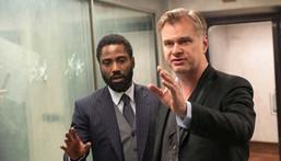 "Christopher Nolan with John David Washington on the set of ""Tenet."""