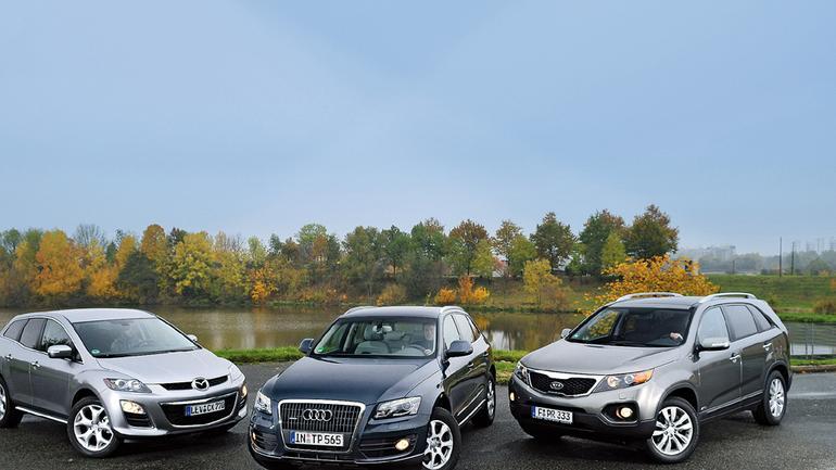 SUV-y  na wyższym poziomie: Mazda CX7 kontra Audi Q5 i Kia Sorento