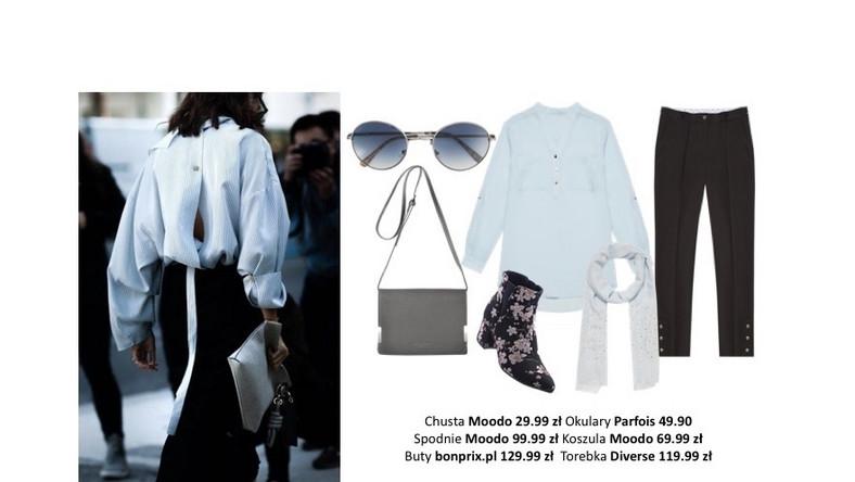 Klasyczną błękitną koszulę zestawiamy z czarnymi spodniami – obie części garderoby wybierzmy z dodatkiem subtelnej dekoracji, takiej jak ozdobne guziki. Wiosenny akcent wprowadzimy za pomocą Lenonek z kolorowymi szkłami i botków wypełnionych po brzegi kwiecistymi wzorami.