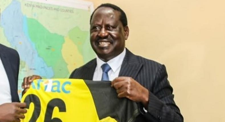 International footballer Ogada Olunga visits Raila Odinga at Capitol Hill Nairobi
