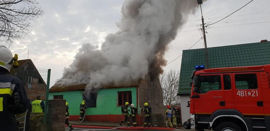 Pożar budynku w Węgorzynie
