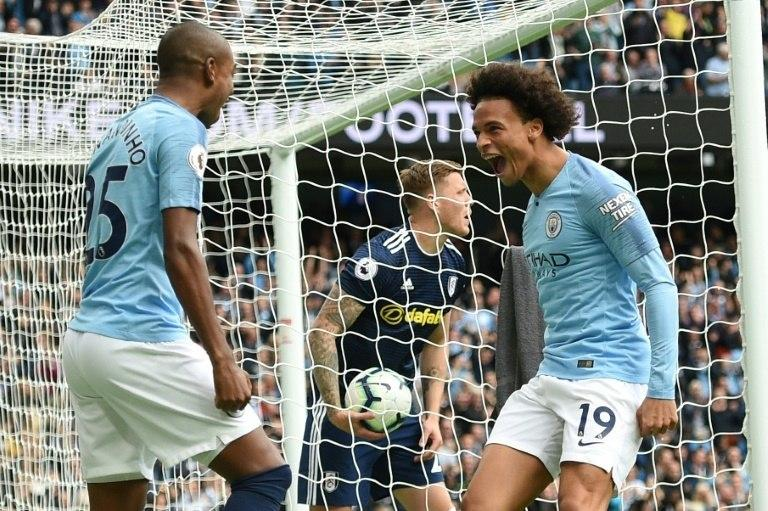 Leroy Sane scored two minutes into his first Premier League start of the season for Manchester City
