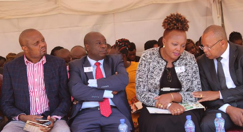 File image of Rigathi Gachagua (second from left) flanked by MPs Moses Kuria (left)), Rahab Mukami and Gichuki Mugambi