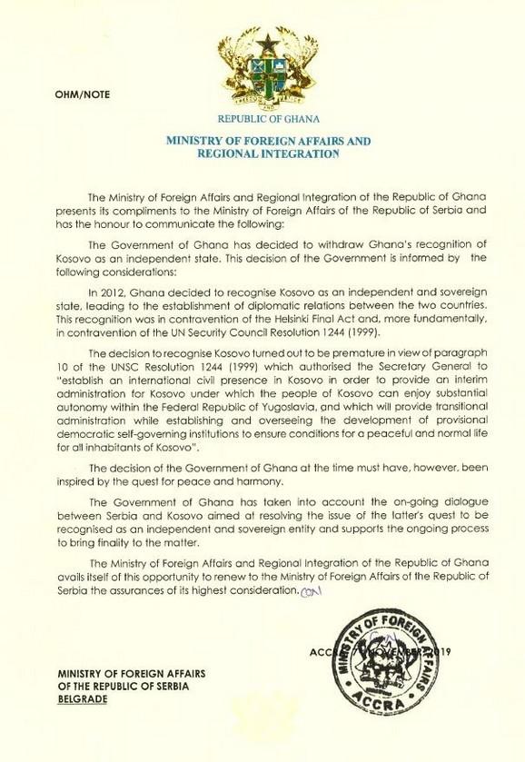 Gana povukla priznanje Kosova