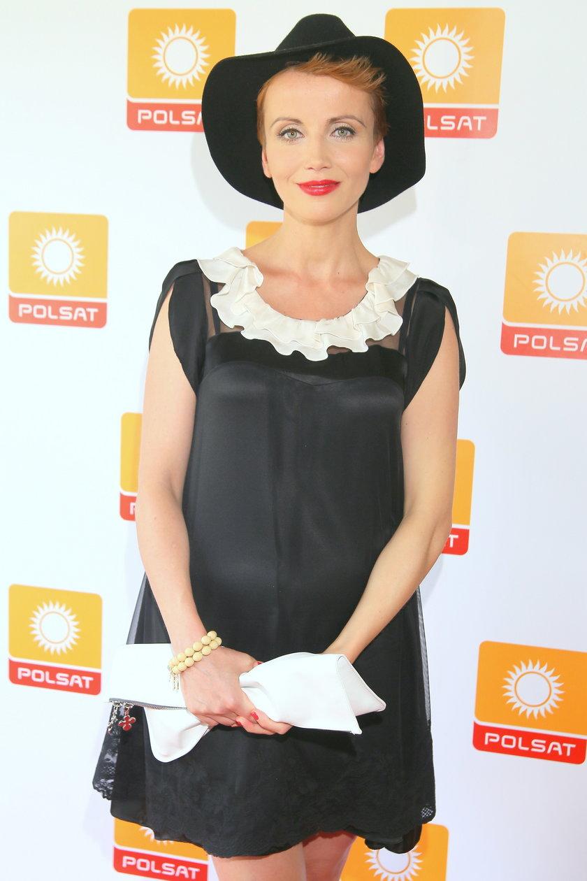 Kasia Zielińska na konferencji serialu Przyjaciółki w sierpniu 2014 roku