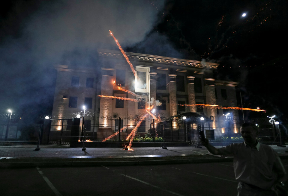 Fireworks launched protesters, explode near the Russian embassy during the protest in Kiev