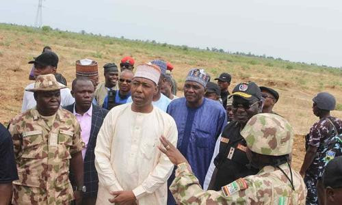 Borno State governor, Babagana Zulum (middle), recently faulted the Army for not doing enough to secure communities troubled by Boko Haram [The Nigerian Voice]