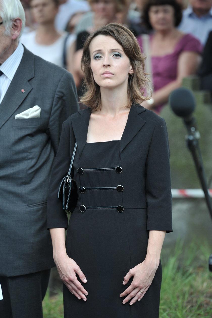 Kamila Łapicka na pogrzebie Andrzeja Łapickiego