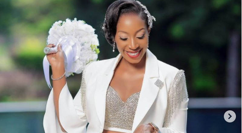 Stunning: This bride wore a white trouser suit on her wedding day and it's beautiful