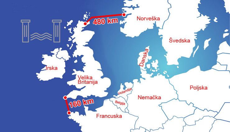 Severno more, brana, mapa, Evropa
